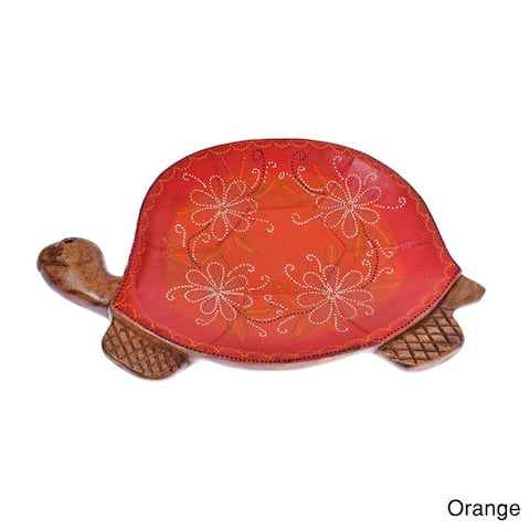 Handmade Joyful Turtle Floral Carved Mango Wood Tray (Thailand)