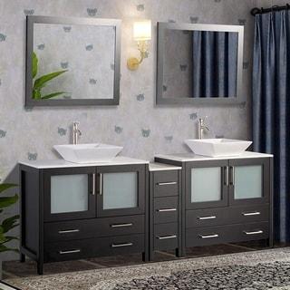 Vanity Art 108 Inch Double Sink Bathroom Vanity Set With Ceramic Top