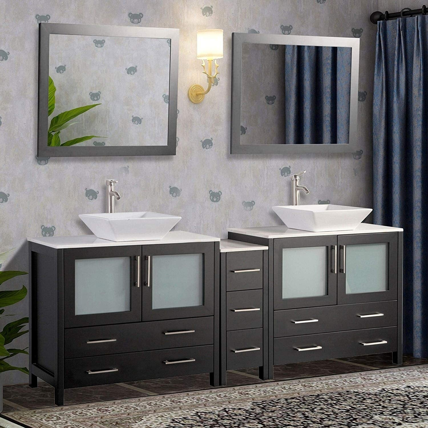 Contemporary Office Interior Design, Shop Black Friday Deals On Vanity Art 108 Double Sink Bathroom Vanity Set 13 Drawers 5 Cabinet 2 Shelves With Quartz Top Free Mirror On Sale Overstock 13681616