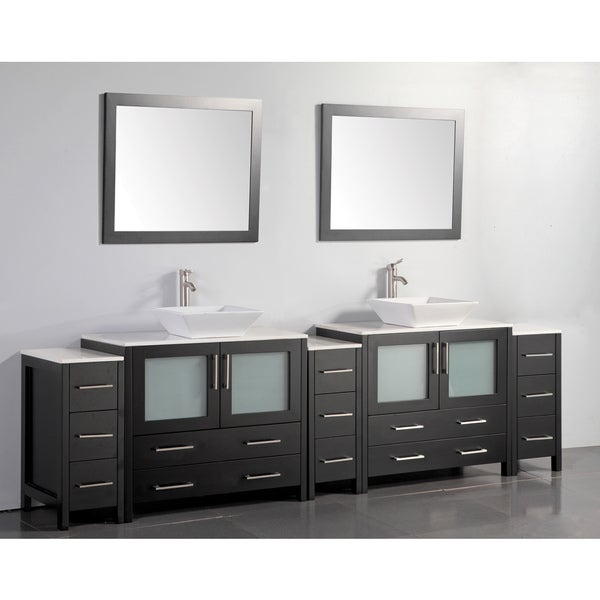 Vanity Art 108 Inch Double Sink Bathroom Vanity Set With Ceramic Top