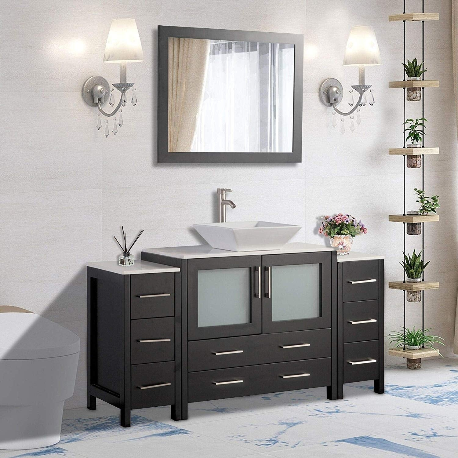 Shop Black Friday Deals On Vanity Art 60 Inch Single Sink Bathroom Vanity Set 8 Drawers 3 Cabinets 1 Shelf Quartz Top With Free Mirror Overstock 13681617