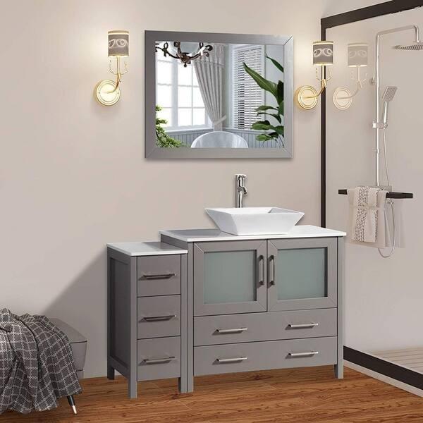 Vanity Art 48 Inch Single Sink Bathroom Vanity Combo Set Modern Cabinet Ceramic Vessel Sink With Quartz Top Free Mirror Overstock 13681618