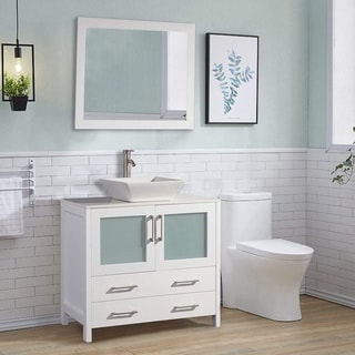 Vanity Art 36-inch Single Quartz Sink Bathroom Vanity Set 2 Drawers, 1 Cabinet, 1 Shelf, Soft-Closing Doors with Free Mirror