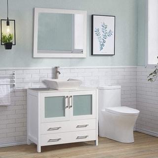 Vanity Art 36 Inch Single Sink Bathroom Vanity Set With Ceramic Top
