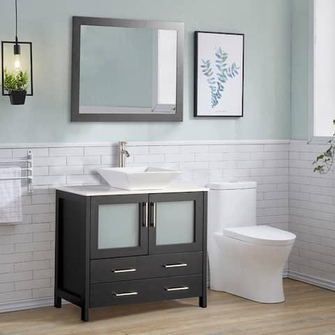 Vanity Art 36-inch Single Quartz Sink Bathroom Vanity Set 2 Drawers, 1 Cabinet, 1 Shelf, Soft-Closing Doors with Free Mirror
