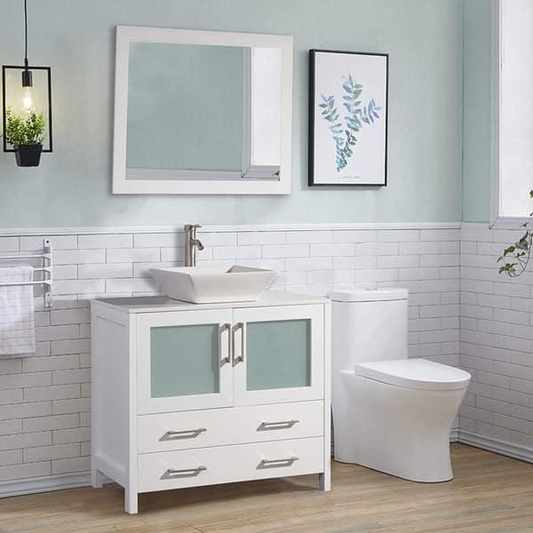 Vanity Art 36 Inch Single Quartz Sink Bathroom Vanity Set 2 Drawers 1 Cabinet 1 Shelf Soft Closing Doors With Free Mirror On Sale Overstock 13681620