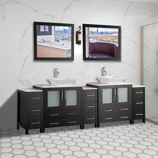 Vanity Art 96 Inch Double Sink Bathroom Vanity Set With Ceramic Top With Three Sets of Drawers