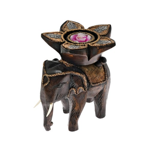Royal Elephant with Flower Candle Holder Rain Tree Wood Handmade (Thailand)