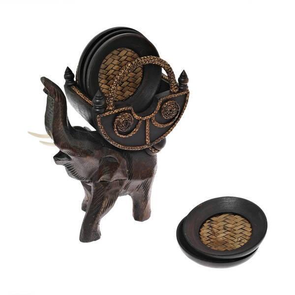 Handmade Leather Elephant Coaster set
