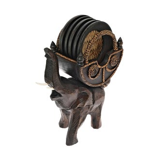 Handmade Elephant Carriage Coaster Set with Holder Carved Rain Tree Wood (Thailand)