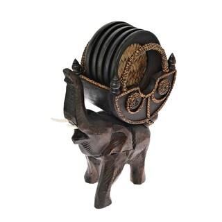 Handmade Elephant Carriage Coaster Set with Holder Carved Rain Tree Wood (Thailand)