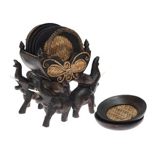 Handmade Thai Elephant Carriage Coast Set with Holder Carved Rain Tree Wood Sculpture (Thailand)