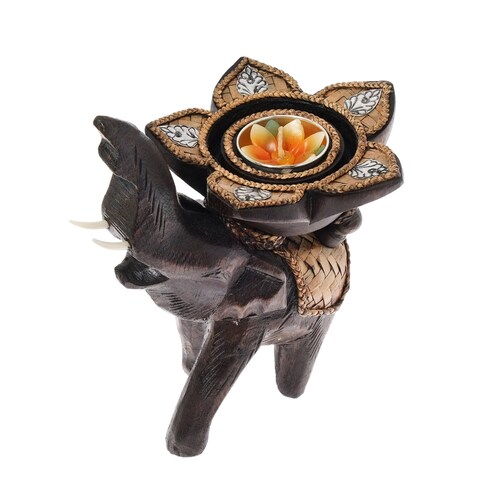Handmade Elephant Lotus Bloom with Flower Wood Candle Holder (Thailand)