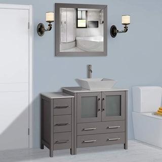 Vanity Art 42 Inch Single Sink Bathroom Vanity Set With Ceramic Top