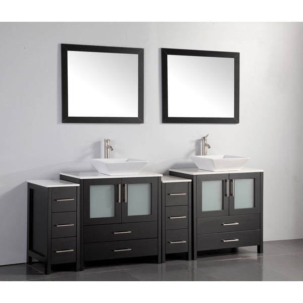 Vanity Art 84 Inch Double Sink Bathroom Vanity Set With Ceramic Top And Three Sets Of Drawers