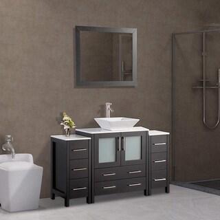 Vanity Art 54 Inch Single Sink Bathroom Vanity Set With Ceramic Top