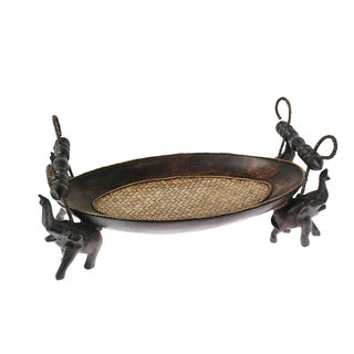 Pride of the Elephant Centerpiece Carved Oval Wooden Tray (Thailand)