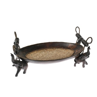 Handmade Pride of the Elephant Centerpiece Carved Oval Wooden Tray (Thailand)