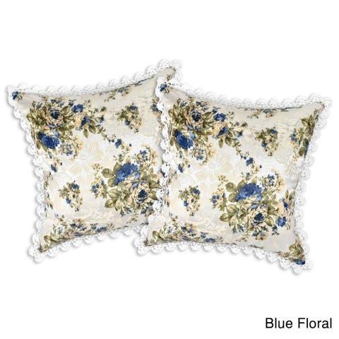Handmade Crochet Trim Tropical Floral Jacquard Throw Pillow Case Set (Thailand)