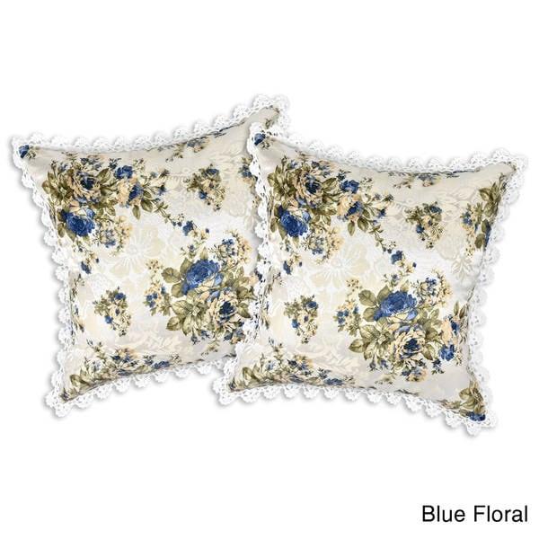 Handmade Crochet Trim Tropical Floral Jacquard Throw Pillow Case Set (Thailand). Opens flyout.