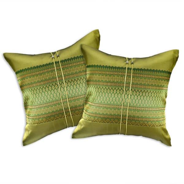 Handmade Thai Motif Royal Stripe Silk Throw Pillow Cushion Cover Set (Thailand)