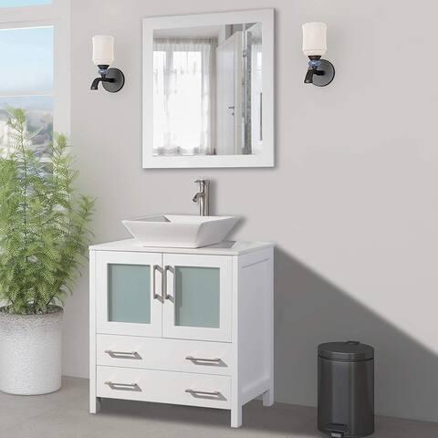 Vanity Art 30-Inch Single Quartz Sink Bathroom Vanity Set 2 Drawers, 1 Cabinet, 1 Shelf, Soft-Closing Doors with Free Mirror