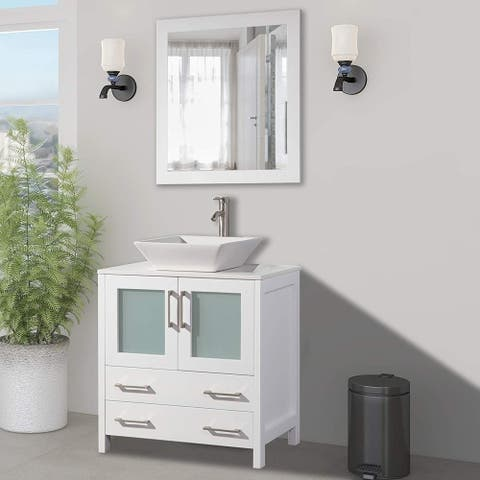 Vanity Art 30-Inch Single Quartz Sink Bathroom Vanity Set