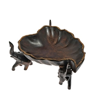 Elephant Heart Shaped Lotus Leaf Rain Tree Wooden Bowl (Thailand)