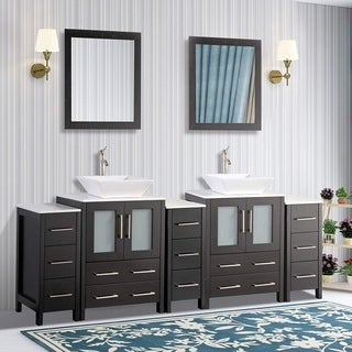 Vanity Art 84 Inch Double Sink Bathroom Vanity Set With Ceramic Top With Two Sets of Drawers