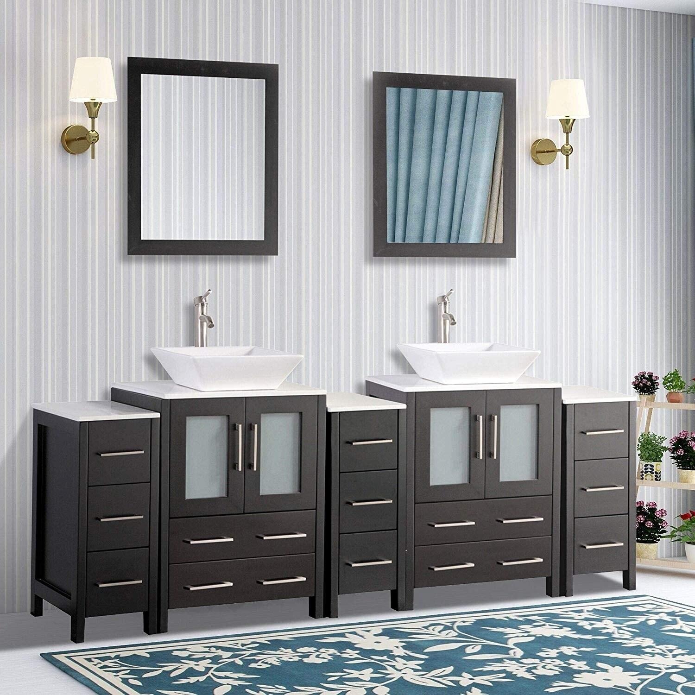 Vanity Art 84 Inch Double Quartz Sink Bathroom Vanity Set 13 Drawers 5 Cabinet 2 Shelves Soft Closing Doors With Free Mirror Overstock 13681640