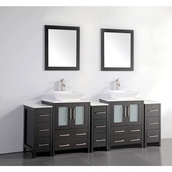 Shop Vanity Art 84 Inch Double Sink Bathroom Vanity Set With Ceramic Top On Sale Free