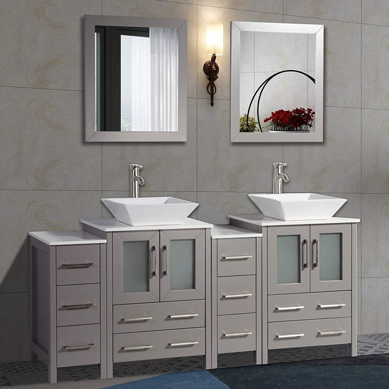 Shop Vanity Art 72 Double Sink Bathroom Vanity Set Ceramic Vessel Sink Solid Wood Storage Cabinet With Quartz Top Free Mirror Overstock 13681642