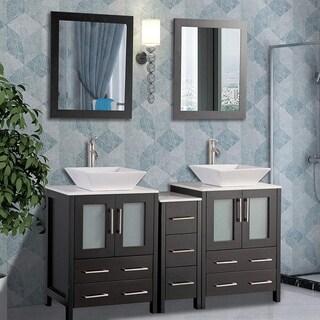 Vanity Art 60 Inch Double Sink Bathroom Vanity Set With Ceramic Top