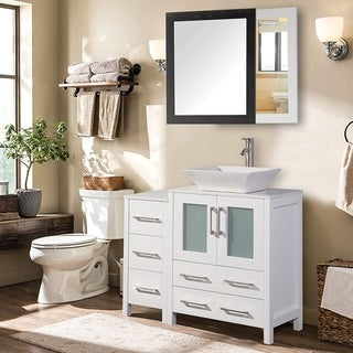Vanity Art 36 Inch Single Sink Bathroom Vanity Set With Ceramic Top With One Set of Drawers