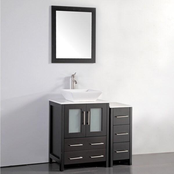 Vanity Art 36 Inch Single Sink Bathroom Vanity Set With Ceramic Top With One Set of Drawers
