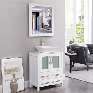 Vanity Art 24-inch Single Sink Bathroom Vanity Set 2 Drawers, 1 Cabinet, 1 Shelf, Quartz Top with Free Mirror