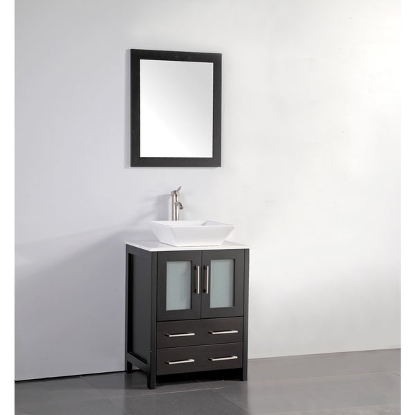 Vanity Art 24 Inch Single Sink Bathroom Set With Ceramic Top