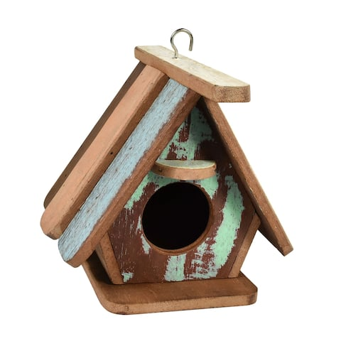 Handmade Pastel Bird House Wood Hanging Decor (Thailand)