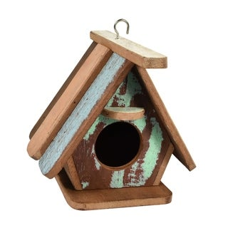 Handcrafted Pastel Bird House Wood Hanging Decor (Thailand)