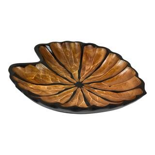 Handmade Fancy Caladium Leaf Mango Wood Plate or Tray (Thailand)