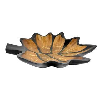 Handmade Autumn Wine Grape Leaf Mango Wood Plate or Tray (Thailand)