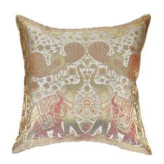 Elephant Peacock N Bird Silk Throw Pillow Cushion Cover Set (Thailand)