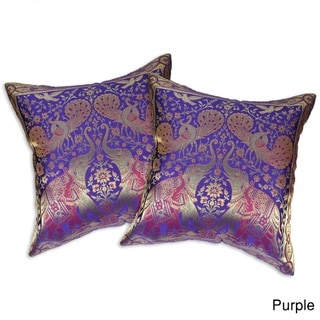 Elephant Peacock N Bird Silk Throw Pillow Cushion Cover Set (Thailand)