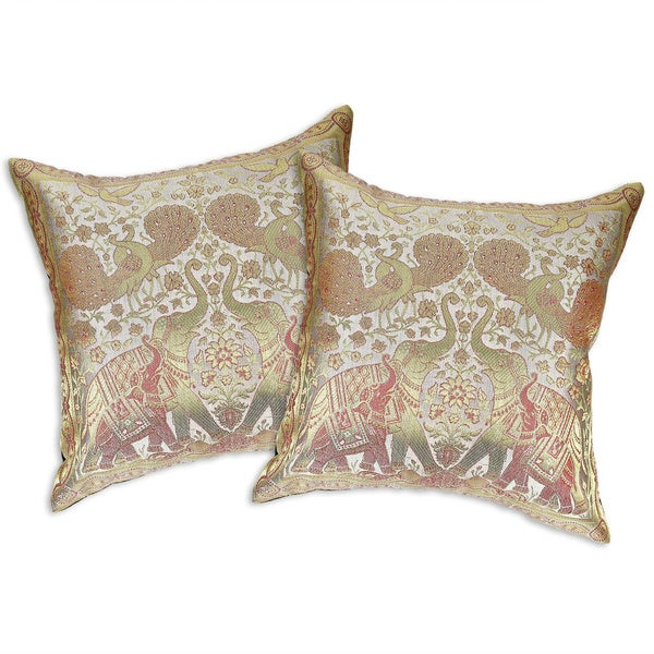 Shop Handmade Elephant Peacock N Bird Silk Throw Pillow