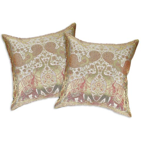 Handmade Elephant Peacock N Bird Silk Throw Pillow Cushion Cover Set (Thailand)