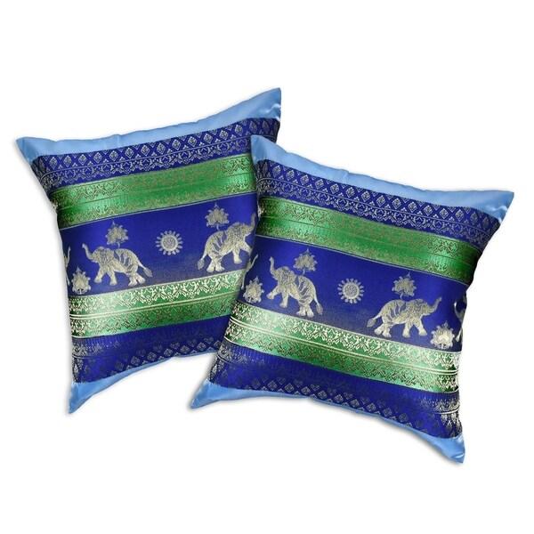 Handmade Elephant Sun Stripes Silk Throw Pillow Cushion Cover Set (Thailand)
