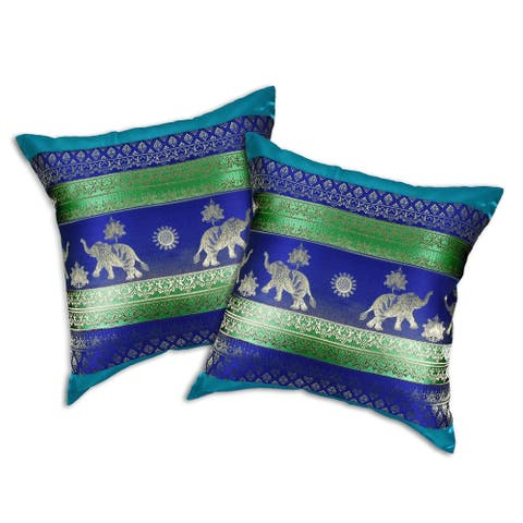 Handmade Thai Elephant Stripes Silk Throw Pillow Cushion Cover Set (Thailand)