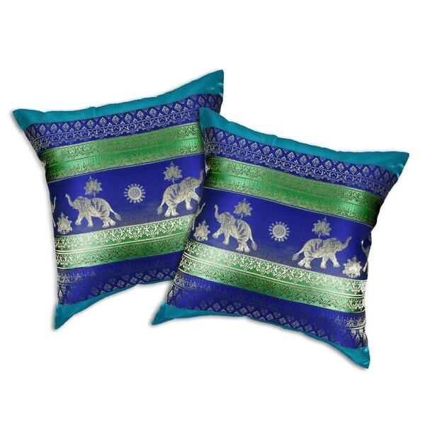 Handmade Thai Elephant Stripes Silk Throw Pillow Cushion Cover Set (Thailand). Opens flyout.