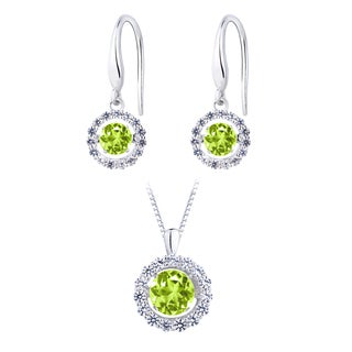 Silver Simulated-peridot Dancing Stone Earring and Pendant Set