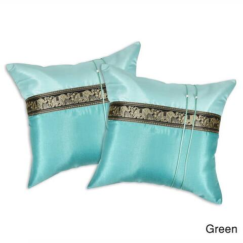 Handmade Happy Elephant Parade Silk Throw Pillow Cushion Cover Set (Thailand)